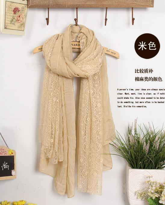 Scarves Autumn winter cotton scarf solid color stitching lace scarf long scarf Korean version the large size 92116