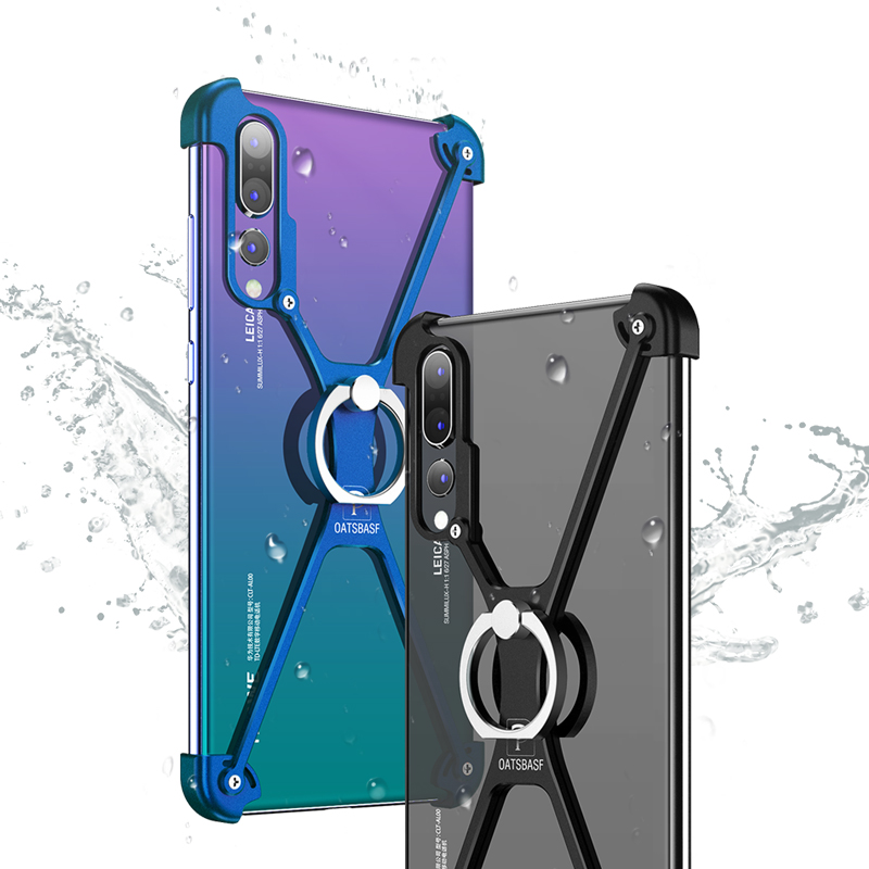 OATSBASF Luxury X Shape Ring Holder Protection Case for Huawei P20 Case Lite Slim Metal Bumper Cover for Huawei P20 Pro Case