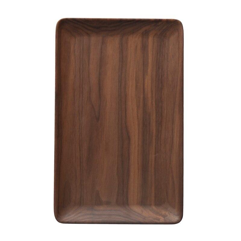 Plateau rectangulaire en bois de noyer noir | Plateau rectangulaire en bois de fruits assiette en bois, plateau de rangement amical, Kungfu plateau de service pour le thé - 5