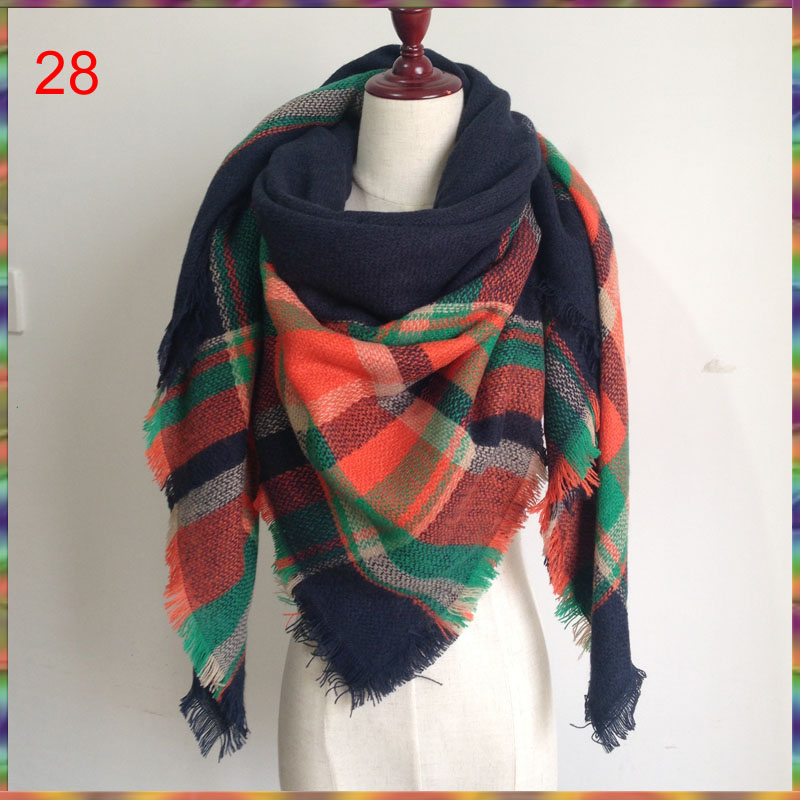 140x140cm Za winter acrylic cashmere tartan plaid scarf brand blanket shawl designer pashmina wrap stole for Lady Women Girl