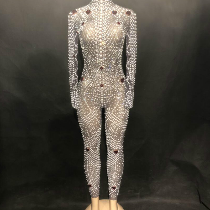 Sexy Bling Rhinestone Jumpsuit Sparkling Crystal Pearl Bodysuit Nightclub Party Female Singer Stage Wear Rompers Women Jumpsuit