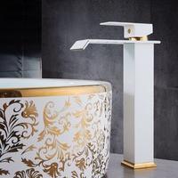 Basin Faucets Square Waterfall Bathroom Faucet Single handle Basin Mixer Tap Bath Antique Faucet Brass Sink Water Crane Gold