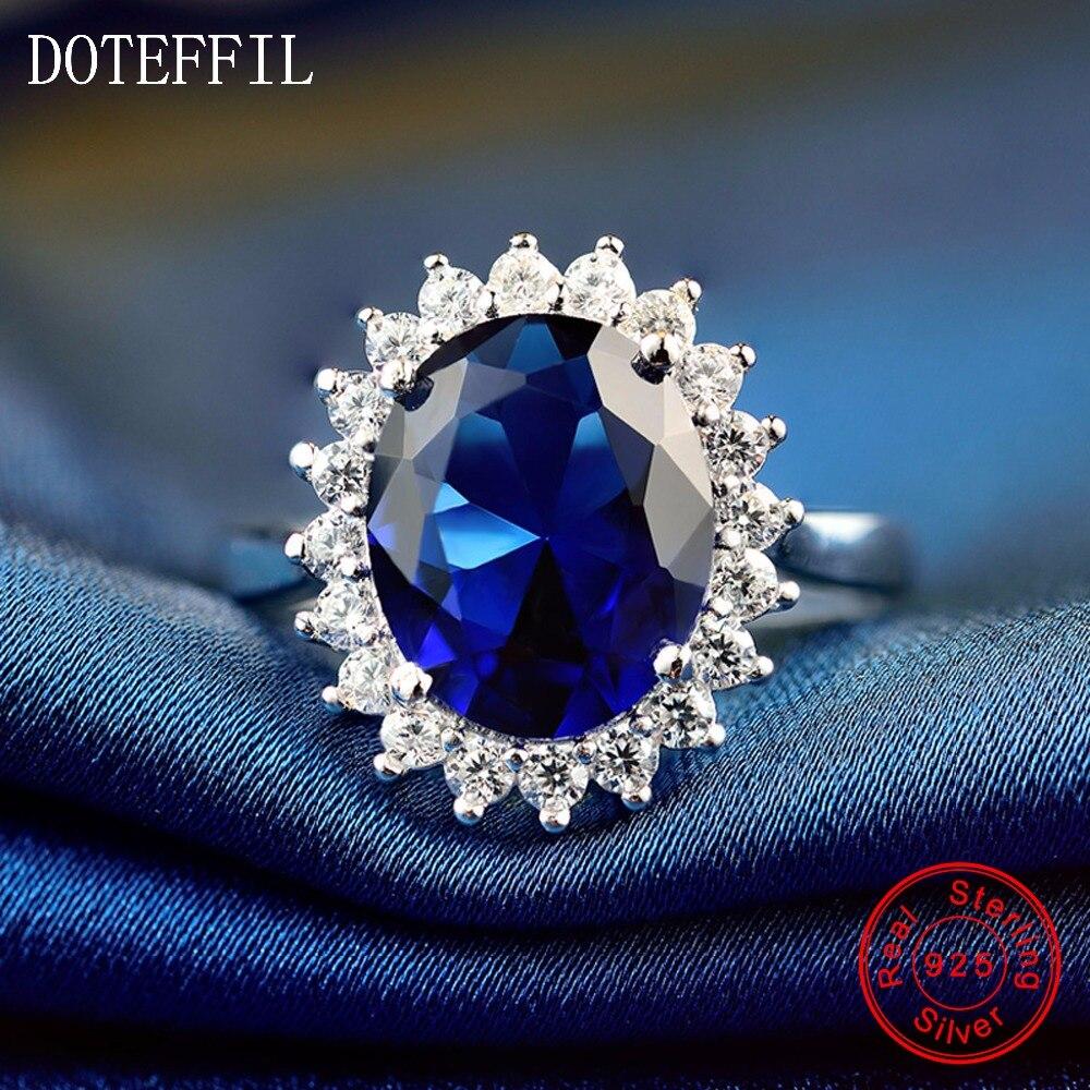 Prstýnky s láskou ke květinám 100% mincovní stříbro pro ženy, svatební párty, 10mm modré zirkonové prsteny, módní přívěsky, prsteny