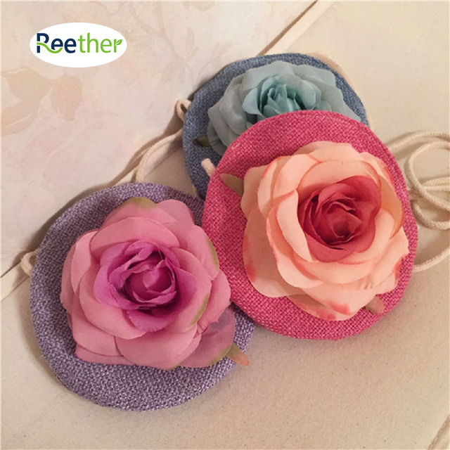 Reether Children's Messenger Bag Handmade Rose Flower Purse Kid Shoulder bag Coin Pouch Decoration Gifts