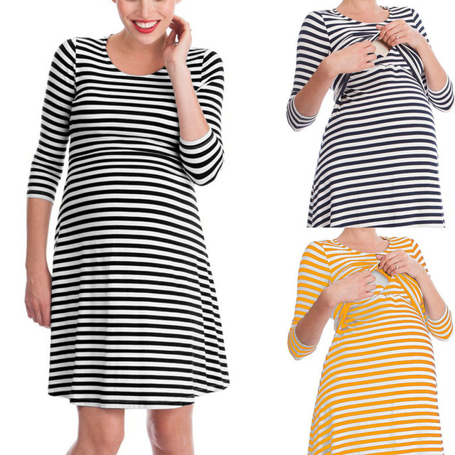 7865dd8269315 New Autumn Nursing Dresses Maternity Dress Cotton Stripe Sleeve Breast  Feeding Dresses For Pregnant Women Bottom Clothes Winter