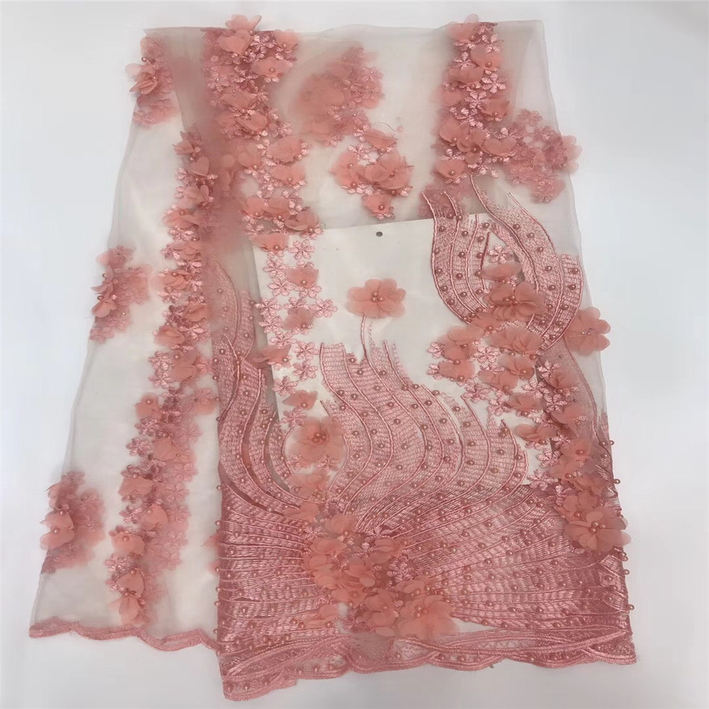 Latest African Beaded Dress Fashion Tulle Design Embroidered French Pink 3d Lace Fabric X517 6
