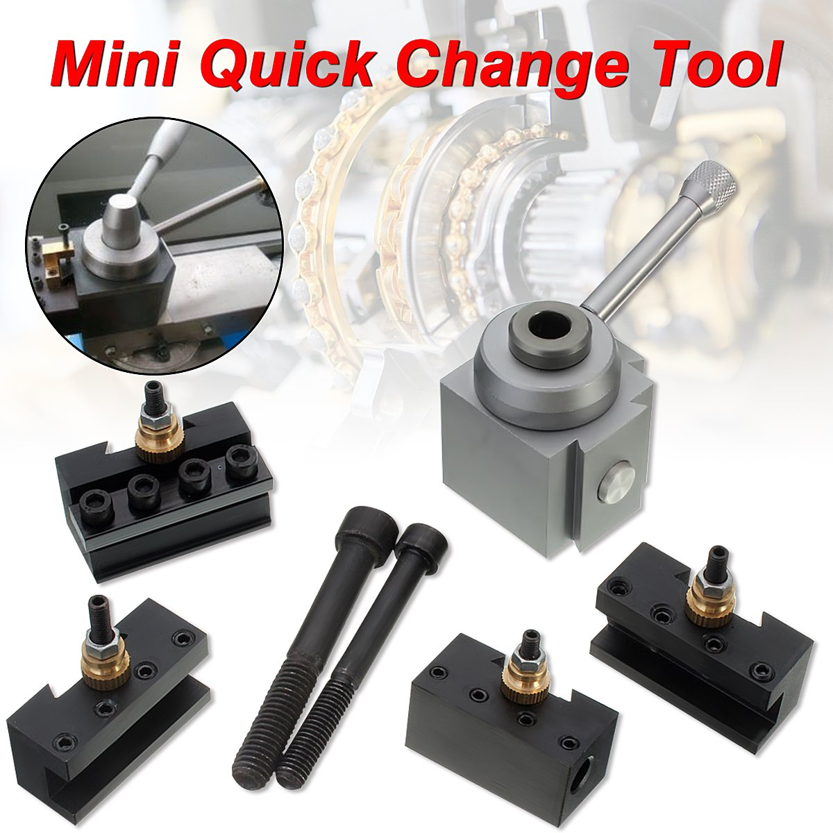 Mini Quick Change Tool Post Blade Holder Kit Set for 7 x10,12,14 Multifix Toolholder Table Lathes