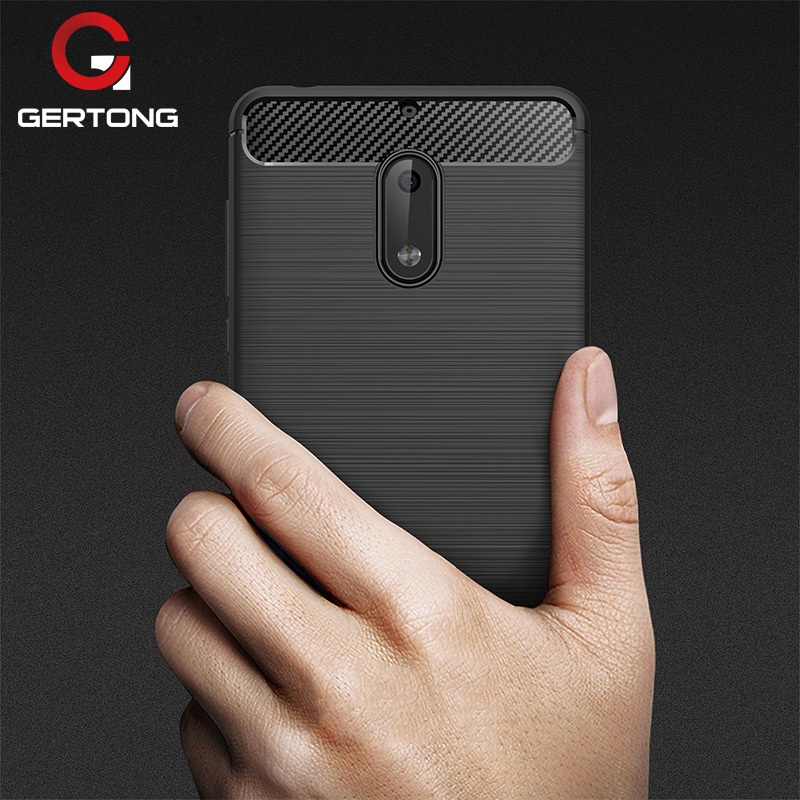 GerTong Shockproof Phone Case for Nokia 8 9 6 5 3 Cases Cover Carbon Fiber Texture TPU Mobile Phone Housing TA-1000 TA-1008
