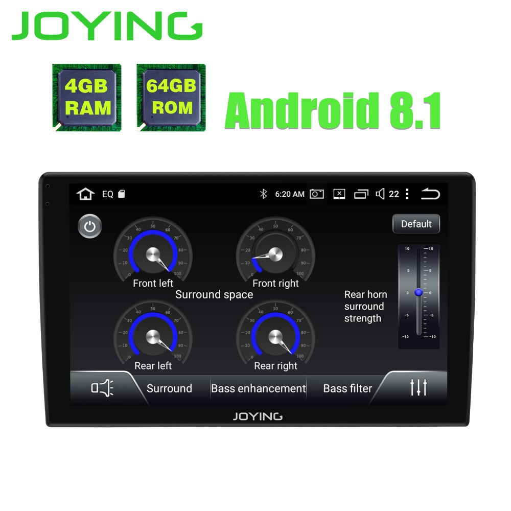 JOYING android 8.1 car radio autorradio 1din 9'' stereo Octa 8 Cores gps navigation player with 2.5D Curved Glass screen and DSP