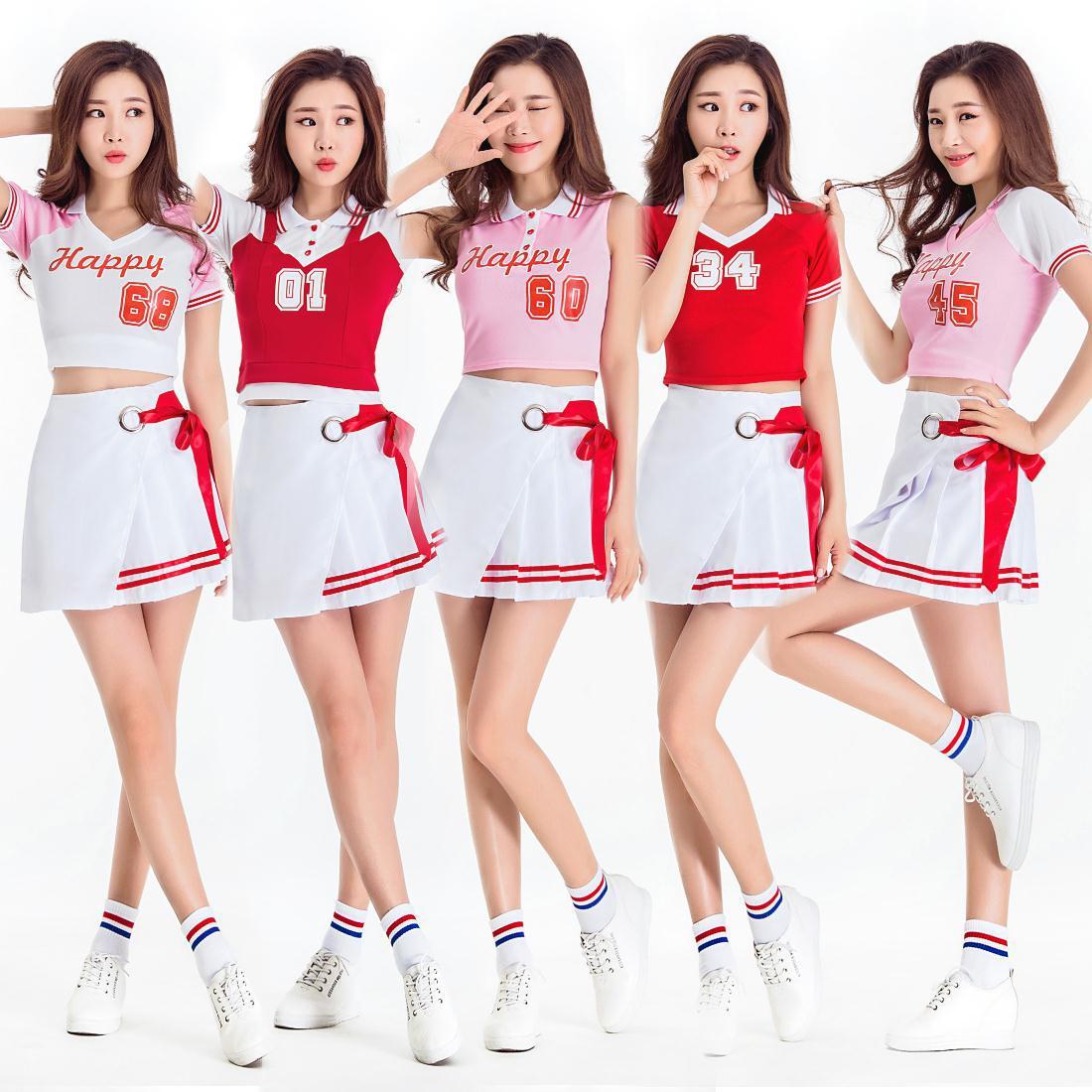 Cheerleading Costume Korean Troupe Cosmos Girls Stage Dance Costumes Women School Uniforms Adults Cheerleader Dancing Costumes