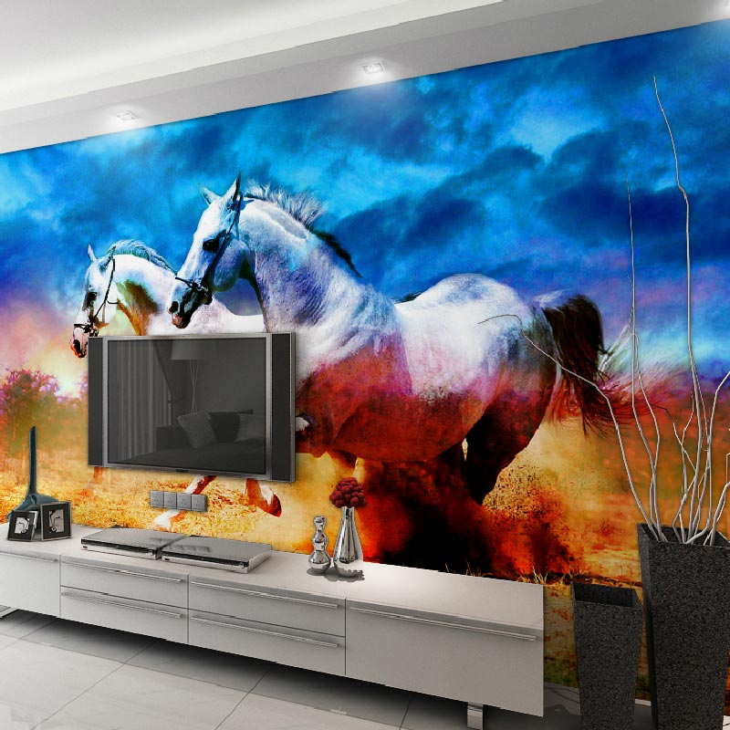 Popular horse wallpaper mural buy cheap horse wallpaper for Equestrian wall mural
