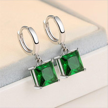 Everoyal New Arrival Lady 925 Sterling Silver Earrings For Women Jewelry Charm Crystal Green Square Drop Earrings Female Bijou new arrival sterling silver 925 emerald earrings silver square openwork green zircon stud earrings for women palace jewelry gift