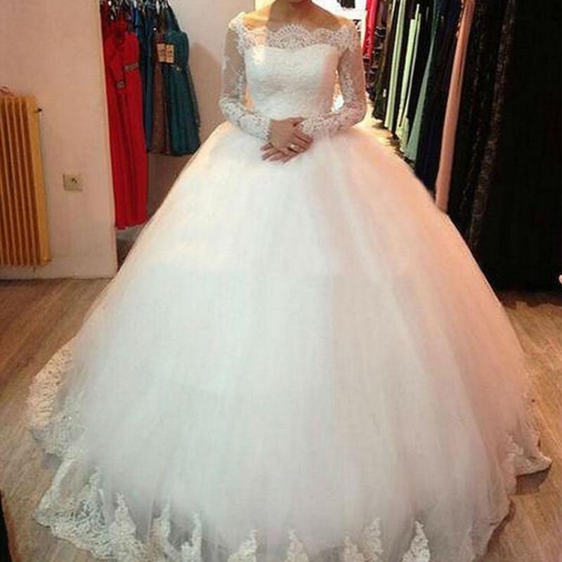 2019 Boat Neck Ball Gown Wedding Dress Custom-made Bride Wedding Gown Robe de Soiree Vestido de Noiva
