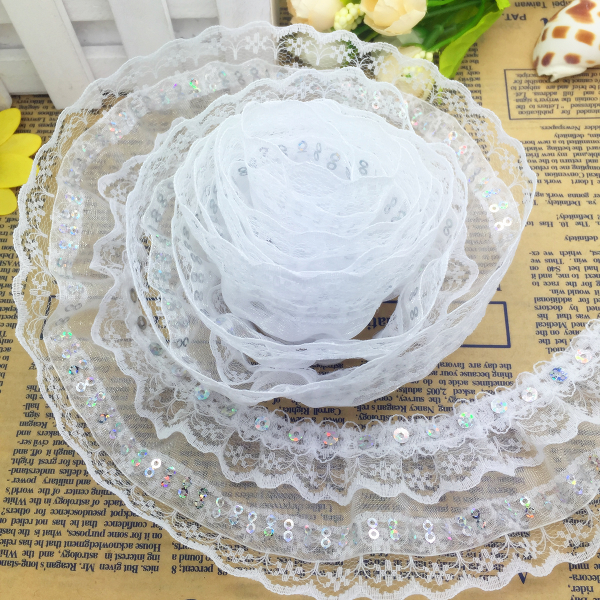 gathered white satin and lace  trim fabric 50mm