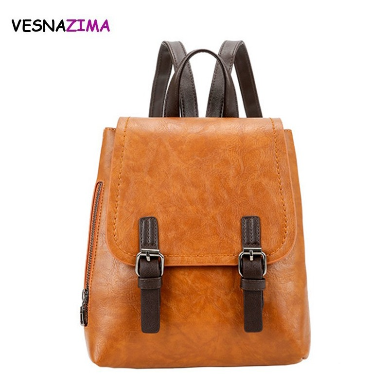 Vesnazima 2018 Fashion Women Backpack PU Leather Backpacks for Teenage Girls Female School Shoulder Bag Bagpack mochila WM537Z fashion pu leather women backpacks 4pcs set rivet school bag for teenage girls bow mochila bags lady backpack mochila