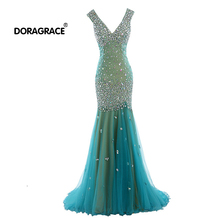 Doragrace robe de soiree V Neck Sleeveless Mermaid Tulle Prom Gowns Crystal Evening Party Dresses