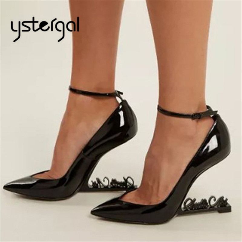 Ystergal Metal Letters Heel Women Pumps Patent Leather 10CM High Heels Mary Jane Black Wedding Dress