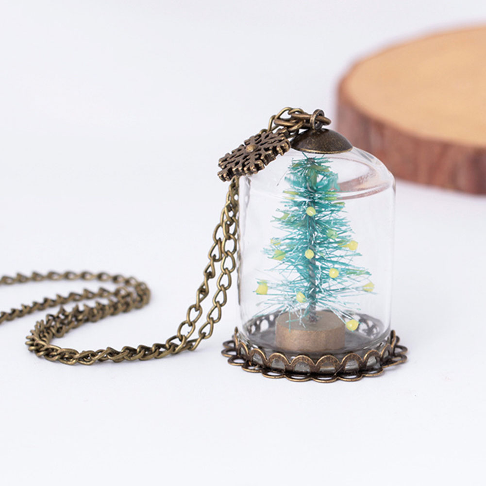 zheFanku Luminous Glass Vial Necklace Bottle Necklace Retro Crystal Natural Christmas tree Necklace Christmas Gifts Glowing