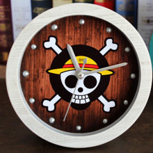 Round Crative Rivet Cartoon Skeleton One Piece Table Alarm Clock European Retro Style Non-ticking Desk Clock Home Decor