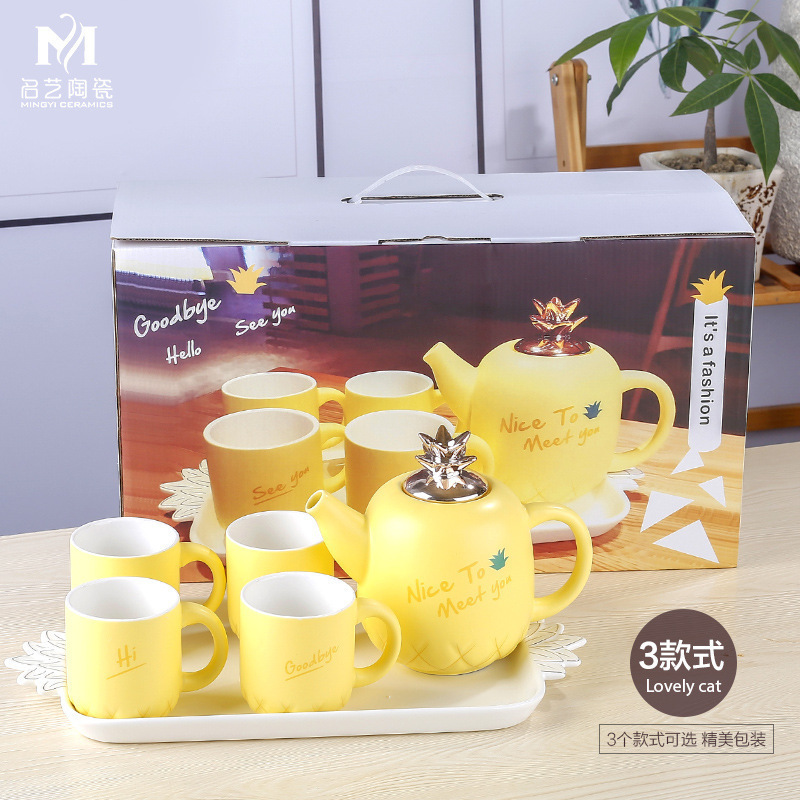Concise Ceramics Infusion Of Tea Kettle Suit Coloured Glaze European White Porcelain Tea Tray Concise Lovely Yi Qingxi Tea Set - 5