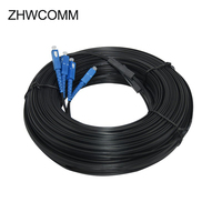 ZHWCOMM 500M Outdoor Fiber Optic Drop SC Singlemode Duplex Cable Patch Cord SC UPC 2 Core 3steel wire Drop Cable Patch Cord