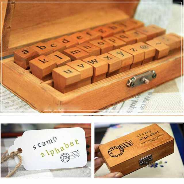 30pcs Lowercase Alphabet Stamp Set Rubber Retro Vintage Craft Letter Number Wooden