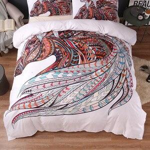 Image 3 - Horse Bedding Set HD Print Tribal Horses Duvet Cover Set Twin Full Queen King Size 3PCS Bedding