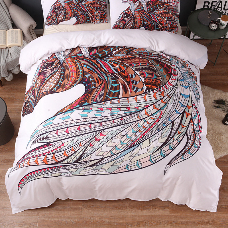 Image 3 - Wongs bedding Horse Bedding Set HD Print Tribal Horses Duvet Cover Set Twin Full Queen King Size 3PCS Bedding-in Bedding Sets from Home & Garden