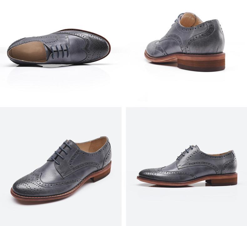 Brogue echt leer vrouwen schoenen mode toevallige carrière werk jurk schoenen vrouw oxford carving lace up platte schoenen maat 34 42 - 5