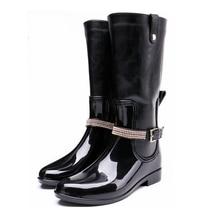 TONGPU Women's Knee High Rain Boots Spring and Autumn PVC Boots with PU Leather Shaft Zipper Closure 58-394