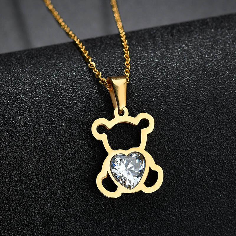 HTB1cd bQNnaK1RjSZFtq6zC2VXai - Charm Hollow Cubic Zircon Bear Chain Necklaces For Women Gold Color Animal Necklace Jewelry Gift