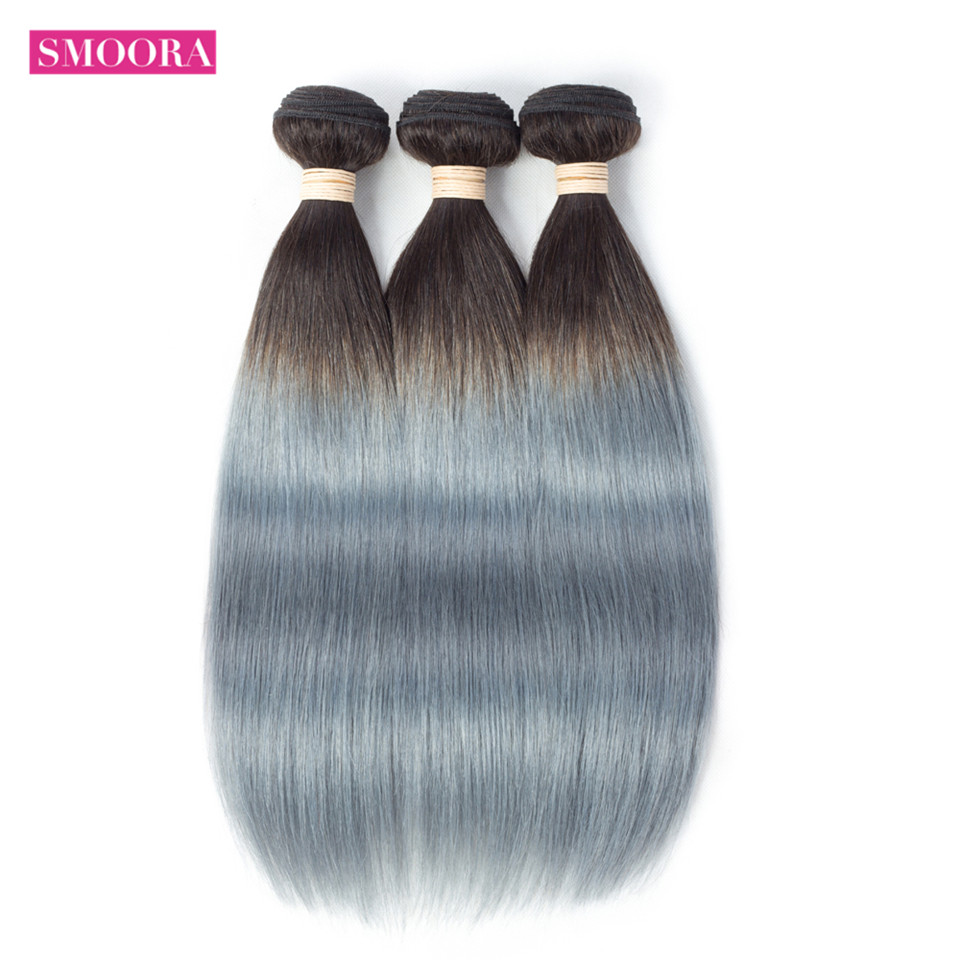 Smoora 1B/Grey Straight 3 Bundles Brazilian Human Hair Weave Dark Root Sliver Gr