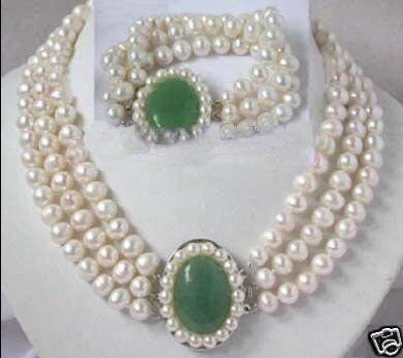 Livraison gratuite breloque Jew.656 charmante perle blanche fermoir collier bracelet ensembles de bijoux