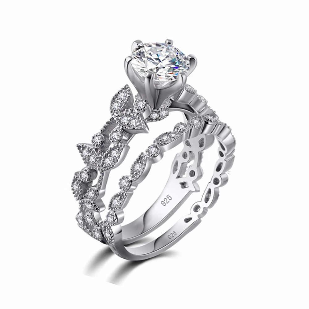 90% de DESCONTO! Bamos Feminino Branco Rodada Conjunto Anel de Luxo 925 Anel de Prata Promessa Aliança de Casamento Anéis de Noivado Para As Mulheres Do Vintage