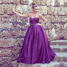 Purple Prom Dress Formal Women Evening Gown With Beaded Belt 2016 Ruched Satin Wedding Party Dress