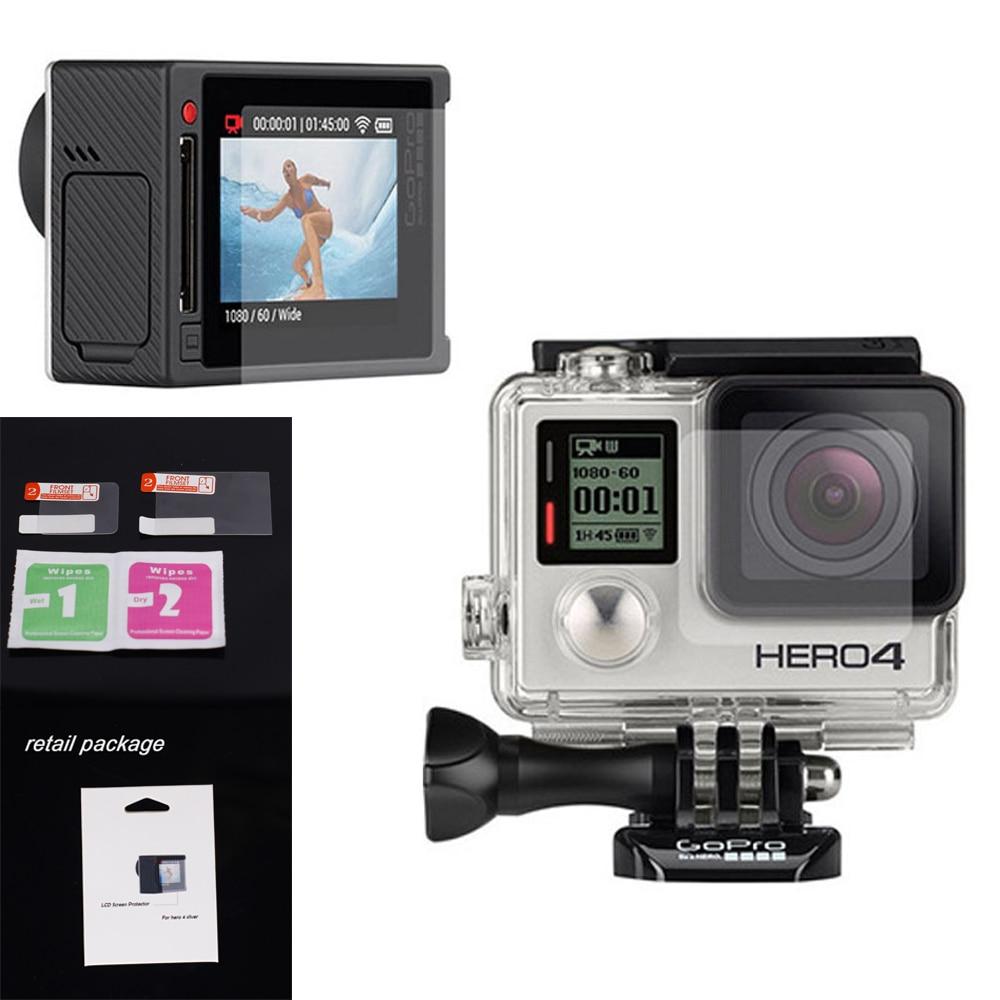 All'ingrosso Per go pro accessori Anteriore e Posteriore Clear LCD Dello Schermo/Lente Pellicola Stagnola Per GoPro Hero4 Argento