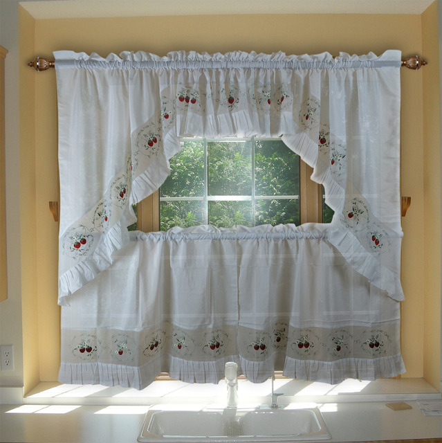 valance swag and tier set tulle sheer curtains for kitchen bedroom