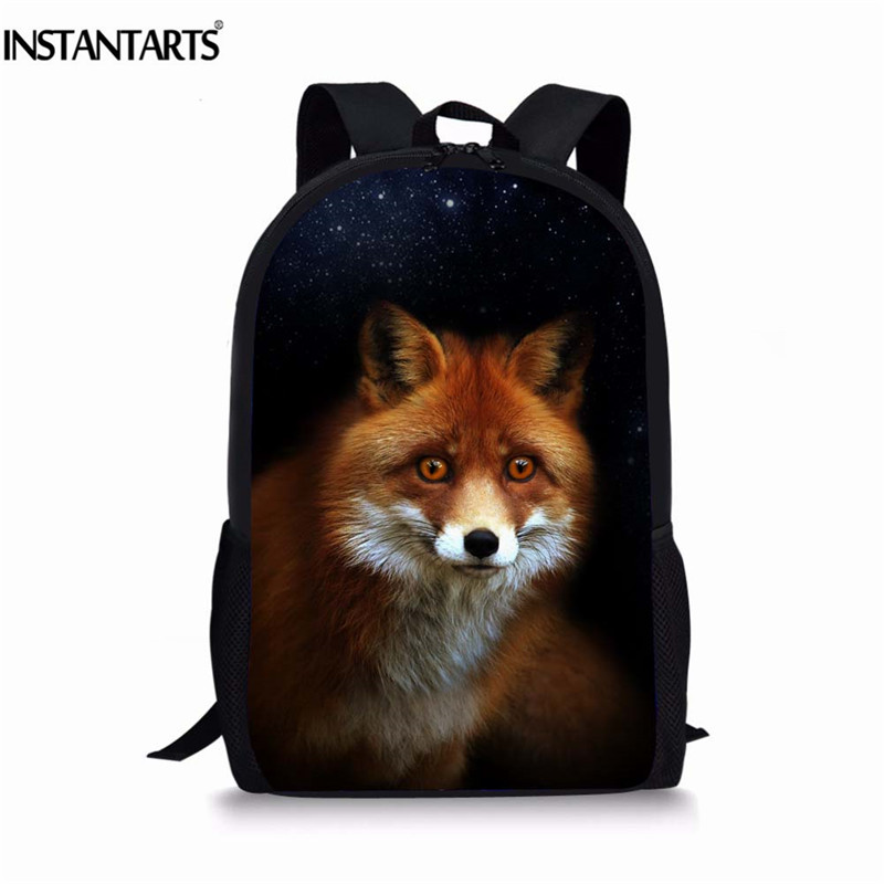 INSTANTARTS Animal Fox Printing Large Backpack for Students School Bags for Teenage Girls Boys Travel Knapsack Bagpack Women instantarts cute children pug dog backpack men felt travel backpacks for teenege boys 3d animal printed student school bagpack