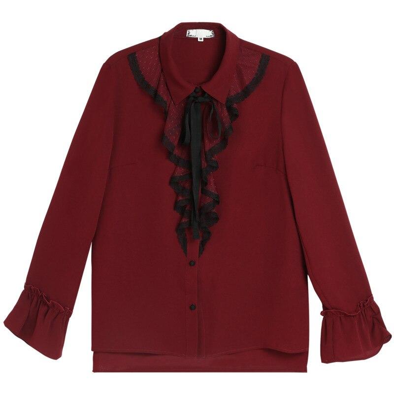 À Automne Taille Longues Bureau 4xl Tops Femmes 5xl 2018 De xxxl Manches Bourgogne Ouyalin Rouge Volants Plus La Mode Shirt Chemisier L Dames Arc WYwaxpq8