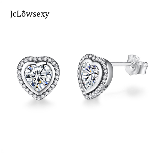 925 Sterling Silver Stud Earrings for Women Made with Heart Crystal hZdvNKue