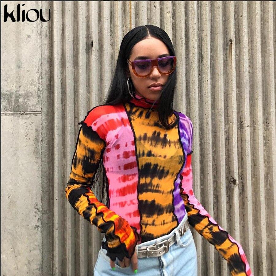 Kliou 2019 Summer Women Print T-shirt Mesh Material Ruffles Turtleneck Full Sleeve Crop Top Female Casual Thin Tops Tshirt Tees
