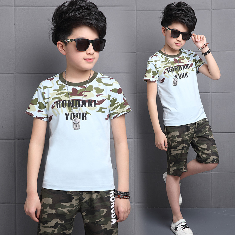 2019 Summer Boy Clothing Sets Toddler Big Boys Clothes Sets Kids Children Suit RONDAKI YOUR Camouflage T-Shirts + Shorts