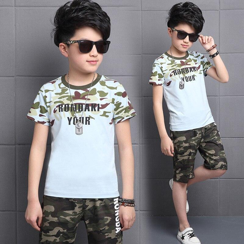 2019 Summer Boy Clothing Sets Toddler Big Boys Clothes Sets Kids Children Suit RONDAKI YOUR Camouflage T-Shirts + Shorts
