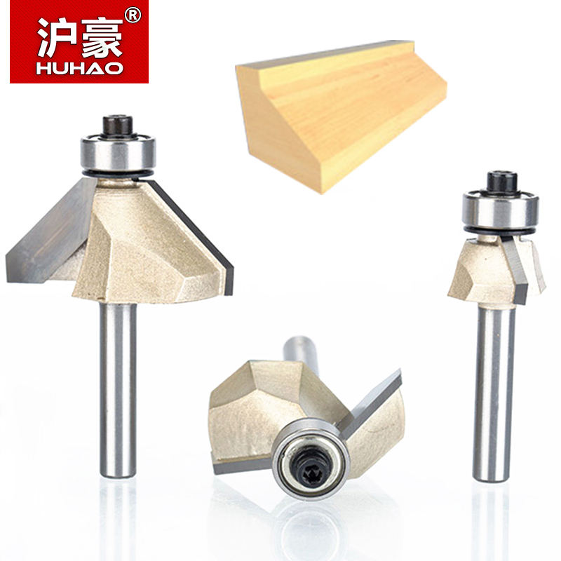 HUHAO 1pcs 1/4 Shank Chamfer Cutter Router Bits for wood Horse Nose Bit 45 Deg CNC Woodworking Tools two Flute endmill huhao 1pcs 1 2 1 4 shank classical router bits for wood tungsten carbide woodworking endmill tools classical mounlding bit