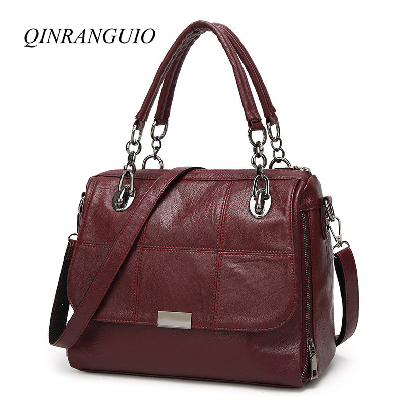 QINRANGUIO Women Bag 2018 Women Leather Handbags Vintage Women Messenger Bags Soft PU Leather Tote Bag Crossbody Bags for Women