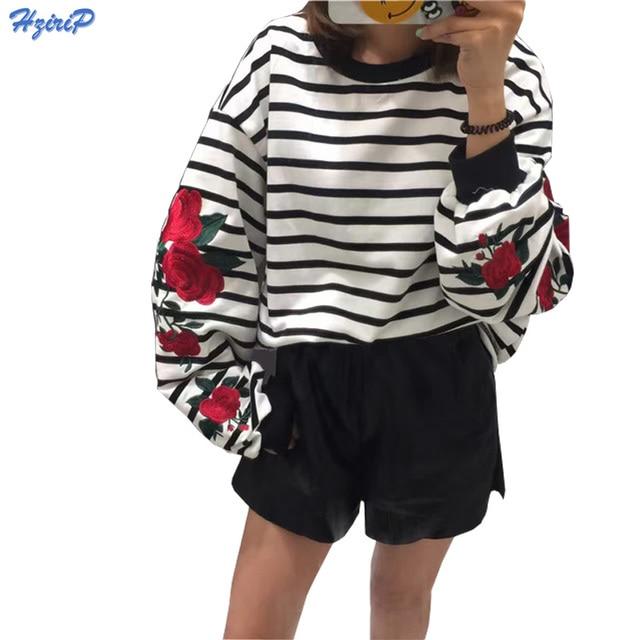 2017 New Autumn Harajuku Hoodies Roses Embroidery Lantern Sleeve Loose Striped Women Sweatshirt Girl Vintage Elegant Casual Tops