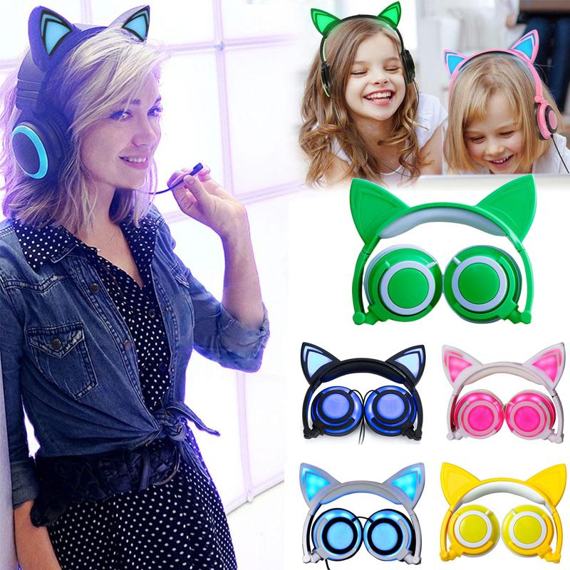 Cewaal Folding Over-Ear Wired Headset LED Luminous Glowing Cat Ear Music Headphones Handsfree Earphone for mobile phones PC foldable flashing glowing cat ear headphones gaming headset earphone with led light for pc laptop computer mobile phones
