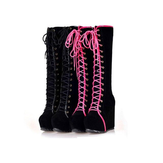 3e9e6bd0c الشتاء النساء أحذية عالية الكعب الدانتيل يصل منصة أسافين جولة اصبع القدم  فاسق صخرة القوطي الأحذية