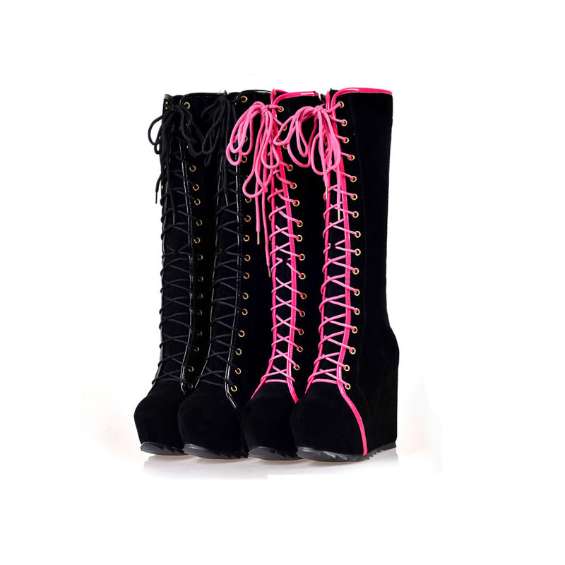 Winter Boots Women High Heels Boots Lace Up Platform Wedges Round Toe Punk Rock Goth Boots Female Knee High Sexy Shoes