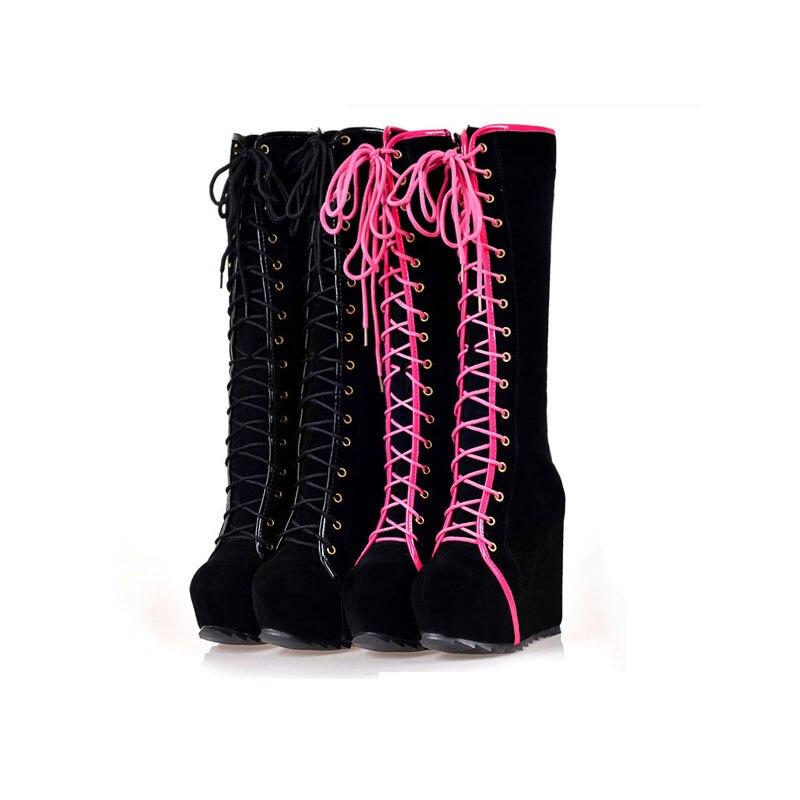 Hiver Bottes Femmes Bottes à Talons hauts Lacent Plate-Forme Cales Bout Rond Punk Rock Goth Bottes Genou Femmes Sexy chaussures